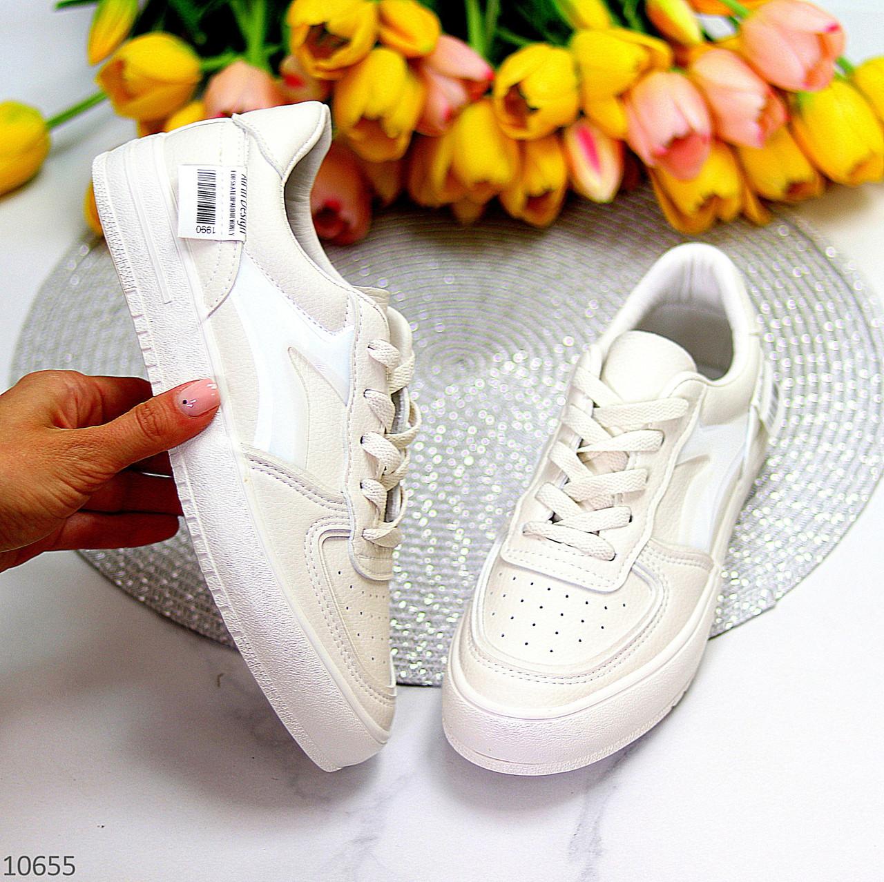 Люксовые светлые молочные женские кроссовки кеды на шнуровке в ассортименте 38-24см