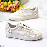 Люксовые светлые молочные женские кроссовки кеды на шнуровке в ассортименте 38-24см, фото 2