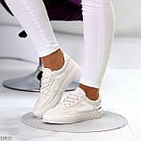 Люксовые светлые молочные женские кроссовки кеды на шнуровке в ассортименте 38-24см, фото 3