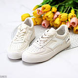 Люксовые светлые молочные женские кроссовки кеды на шнуровке в ассортименте 38-24см, фото 4