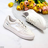 Люксовые светлые молочные женские кроссовки кеды на шнуровке в ассортименте 38-24см, фото 5