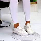 Люксовые светлые молочные женские кроссовки кеды на шнуровке в ассортименте 38-24см, фото 6