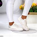 Люксовые светлые молочные женские кроссовки кеды на шнуровке в ассортименте 38-24см, фото 8