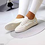 Люксовые светлые молочные женские кроссовки кеды на шнуровке в ассортименте 38-24см, фото 9