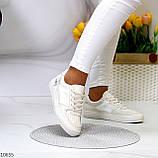 Люксовые светлые молочные женские кроссовки кеды на шнуровке в ассортименте 38-24см, фото 10
