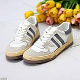Люксовые комбинированные женские кроссовки кеды на шнуровке 36-23 37-23,5 38-24 см, фото 2