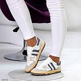 Люксовые комбинированные женские кроссовки кеды на шнуровке 36-23 37-23,5 38-24 см, фото 6