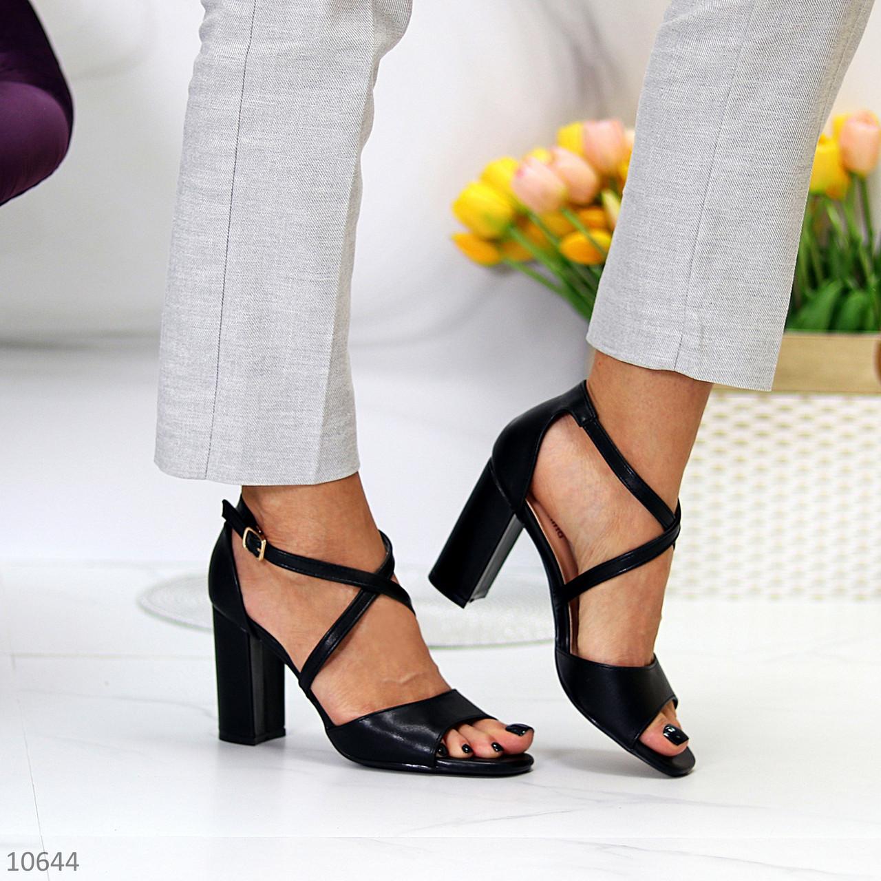Элегантные черные женские туфли на шлейке на устойчивом каблуке 37-24 / 40-25,5см