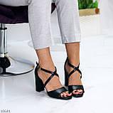 Элегантные черные женские туфли на шлейке на устойчивом каблуке 37-24 / 40-25,5см, фото 2