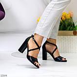 Элегантные черные женские туфли на шлейке на устойчивом каблуке 37-24 / 40-25,5см, фото 4