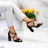 Элегантные черные женские туфли на шлейке на устойчивом каблуке 37-24 / 40-25,5см, фото 5