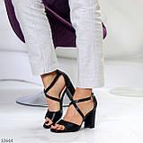 Элегантные черные женские туфли на шлейке на устойчивом каблуке 37-24 / 40-25,5см, фото 7