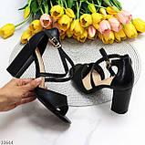 Элегантные черные женские туфли на шлейке на устойчивом каблуке 37-24 / 40-25,5см, фото 8