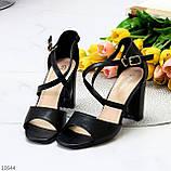 Элегантные черные женские туфли на шлейке на устойчивом каблуке 37-24 / 40-25,5см, фото 9