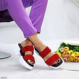 Модні червоні замшеві жіночі шльопанці шльопанці натуральна замша на товстій підошві, фото 3