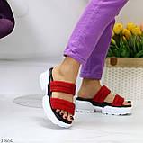 Модные замшевые красные женские шлепки шлепанцы натуральная замша на утолщенной подошве, фото 5