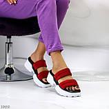 Модные замшевые красные женские шлепки шлепанцы натуральная замша на утолщенной подошве, фото 6