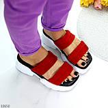 Модные замшевые красные женские шлепки шлепанцы натуральная замша на утолщенной подошве, фото 7