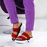 Модные замшевые красные женские шлепки шлепанцы натуральная замша на утолщенной подошве, фото 8
