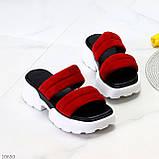 Модные замшевые красные женские шлепки шлепанцы натуральная замша на утолщенной подошве, фото 9