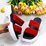 Модные замшевые красные женские шлепки шлепанцы натуральная замша на утолщенной подошве, фото 10