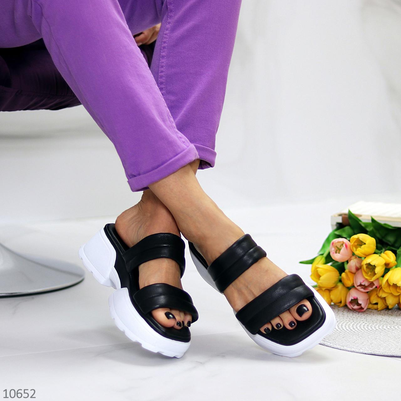 Модные кожаные черные женские шлепки шлепанцы натуральная кожа на утолщенной подошве