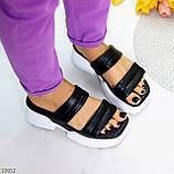 Модные кожаные черные женские шлепки шлепанцы натуральная кожа на утолщенной подошве, фото 2