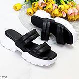 Модные кожаные черные женские шлепки шлепанцы натуральная кожа на утолщенной подошве, фото 8