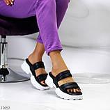 Модные кожаные черные женские шлепки шлепанцы натуральная кожа на утолщенной подошве, фото 10