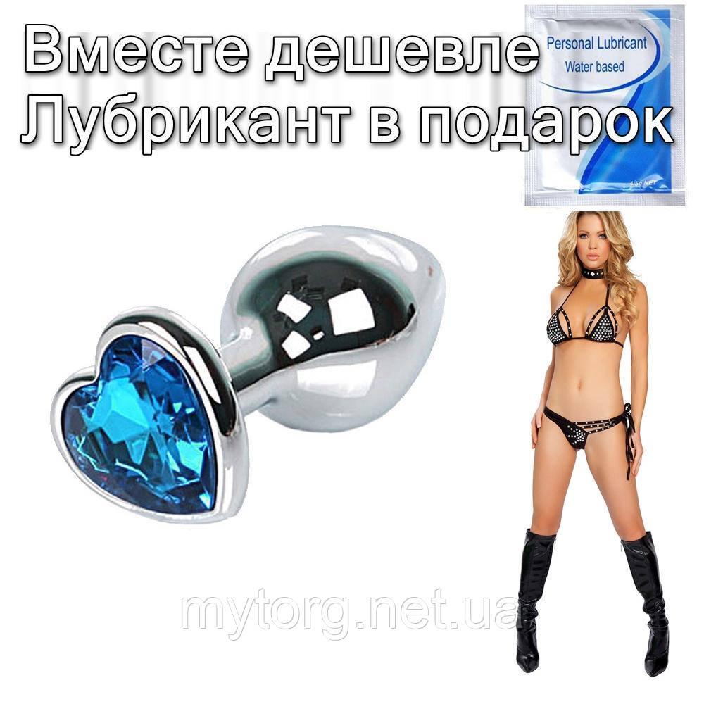 Анальная пробка с кристаллом Сердечко 7,5 см х 2,8 см Голубой