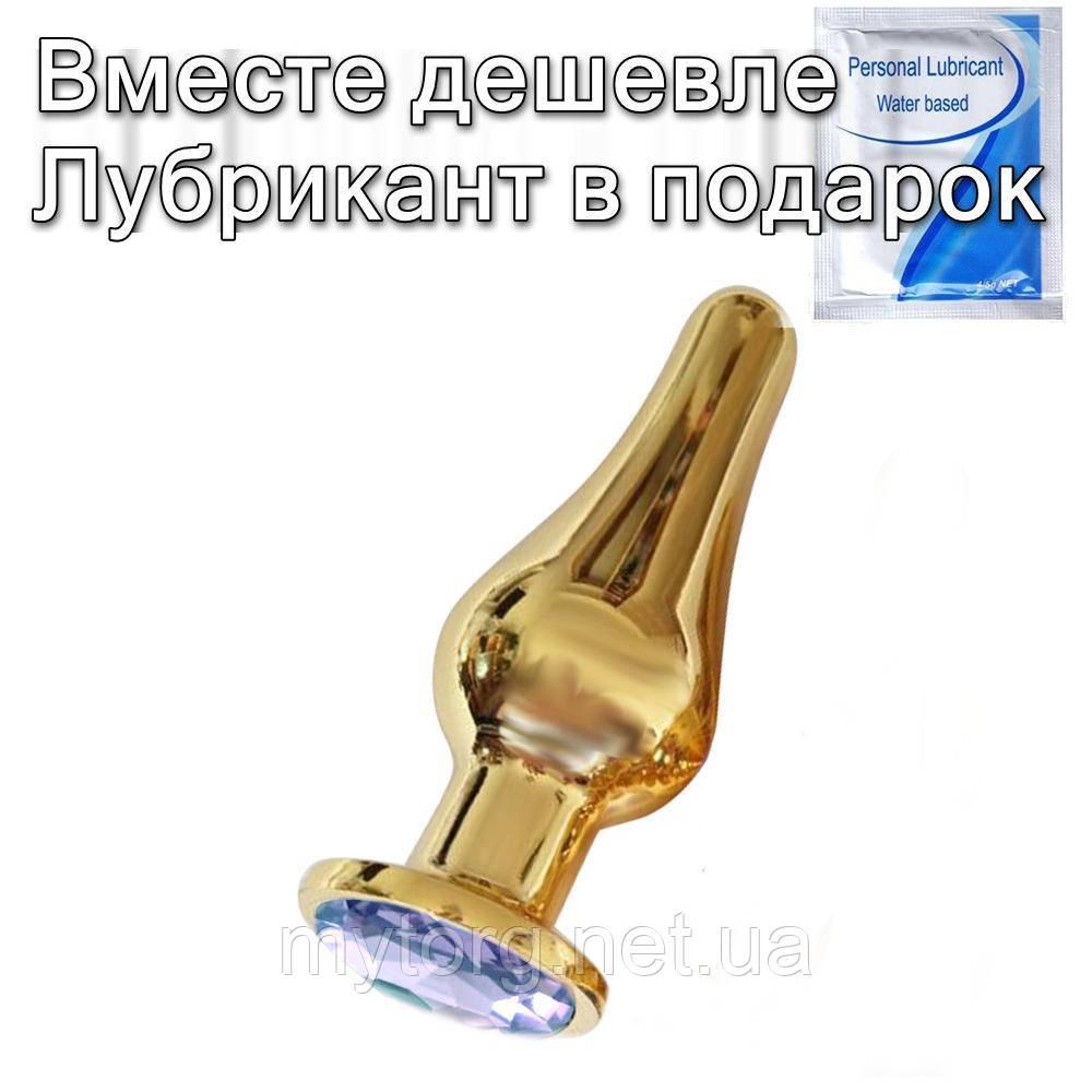Золота анальна пробка з кристалом Груша L 12,7 см х 4,0 см Білий