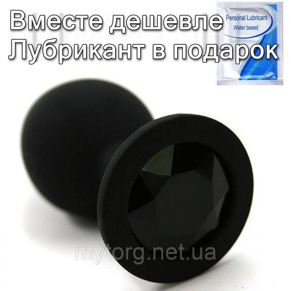Черная силиконовая анальная  пробка с кристаллом 3.4 см х 8 см Черный