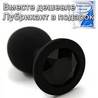 Черная силиконовая анальная  пробка с кристаллом 3.4 см х 8 см Черный, фото 1