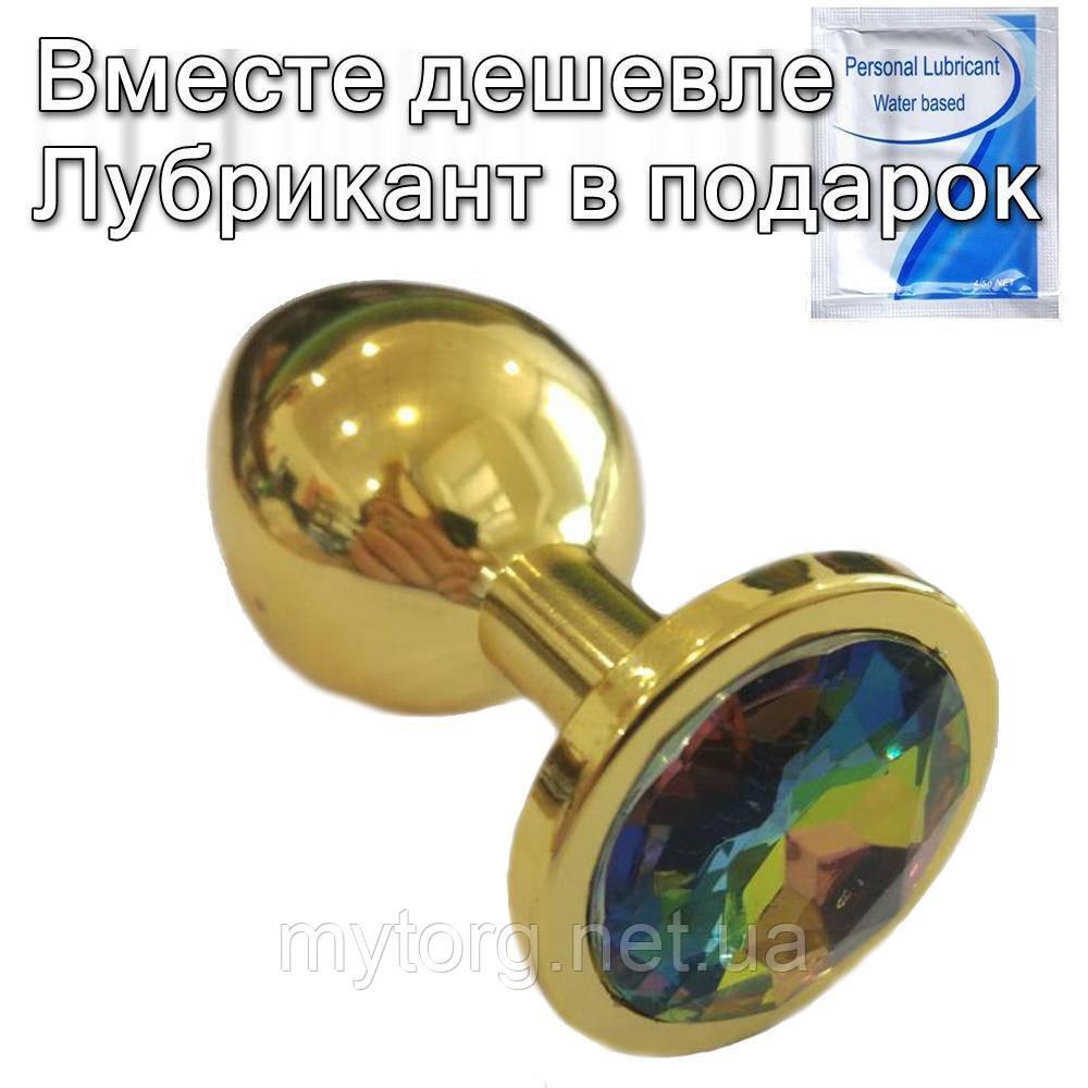 Золотая анальная пробка с кристаллом 3 см х 8,3 см Многоцвет