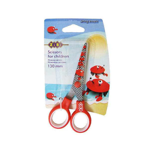 Ножницы детские с рисунком на лезвии Краб Zibi 130мм красные