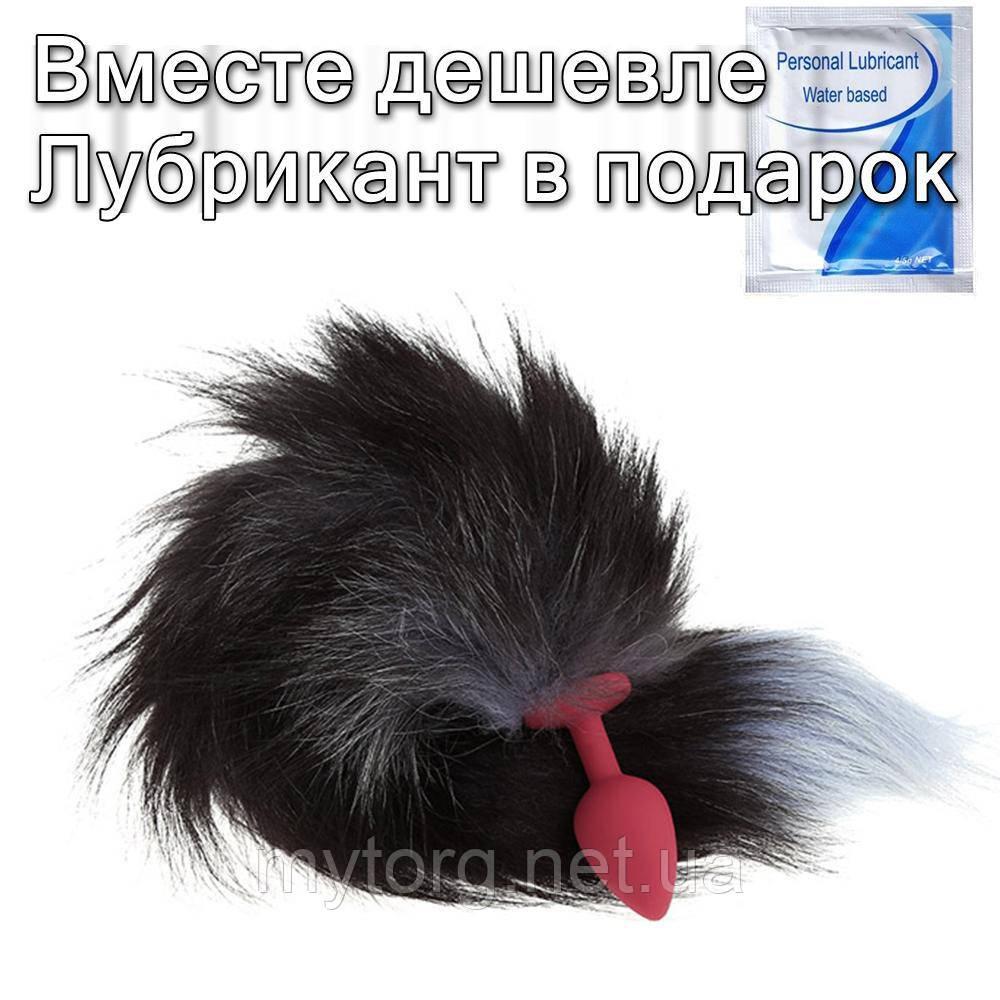 Анальна пробка хвіст Конячка 7 см х 3 см х 45 см Червоний