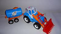 Большой  Трактор скрепер с прицепом и ковшом ,620x175x210 мм.Детский трактор Тигр погрузчик.Детская машина Тра