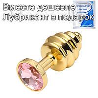 Золота рельєфна анальна пробка з кристалом 2,7 см х 7 см Рожевий, фото 1