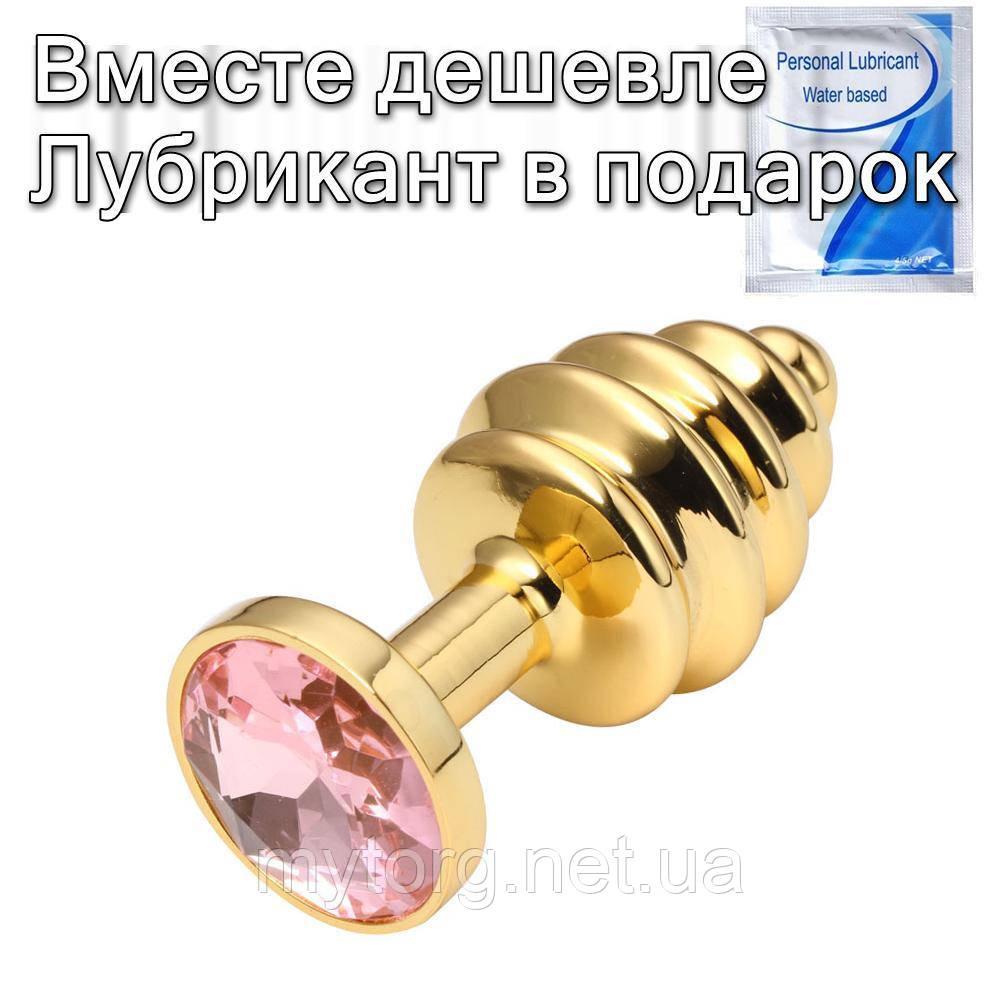 Золота рельєфна анальна пробка з кристалом 2,7 см х 7 см Рожевий
