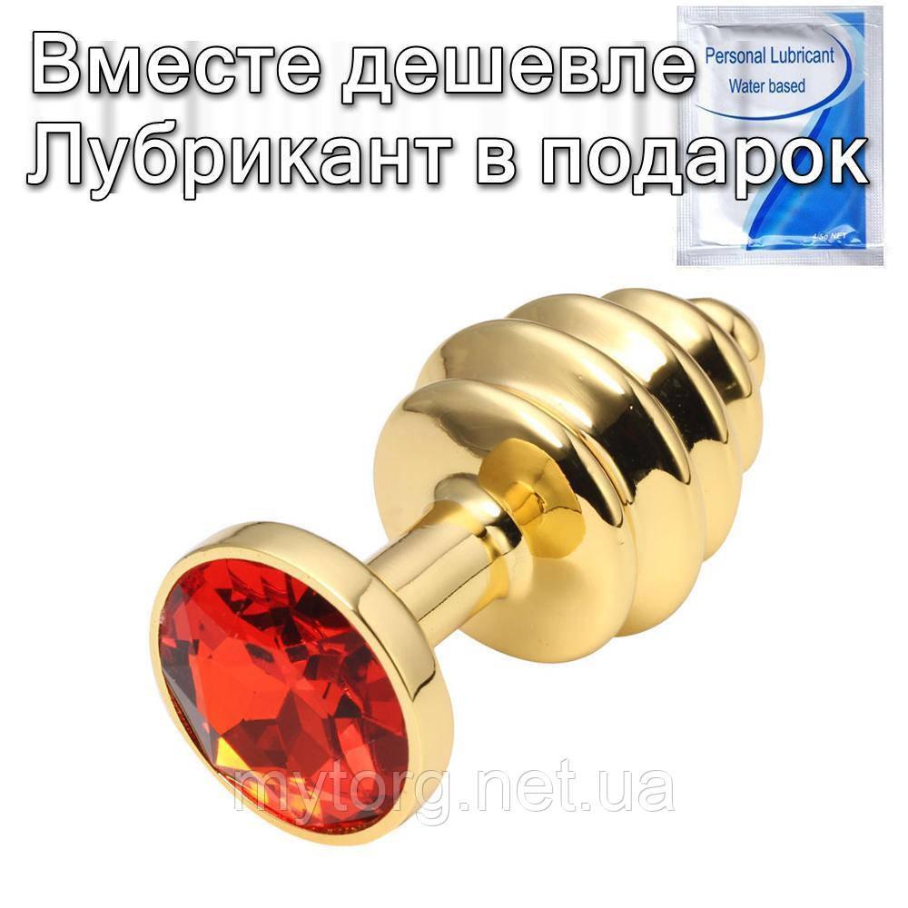 Золота рельєфна анальна пробка з кристалом 2,7 см х 7 см Червоний