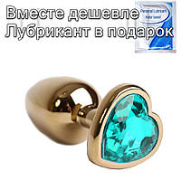 Золотая анальная пробка с кристаллом Сердечко 3,3 см х 8,5 см Голубой, фото 1