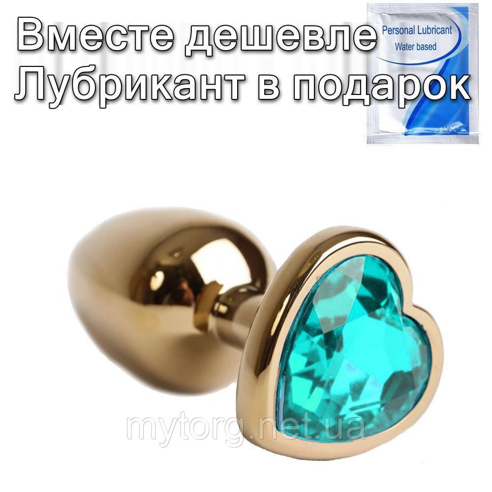Золотая анальная пробка с кристаллом Сердечко 3,3 см х 8,5 см Голубой