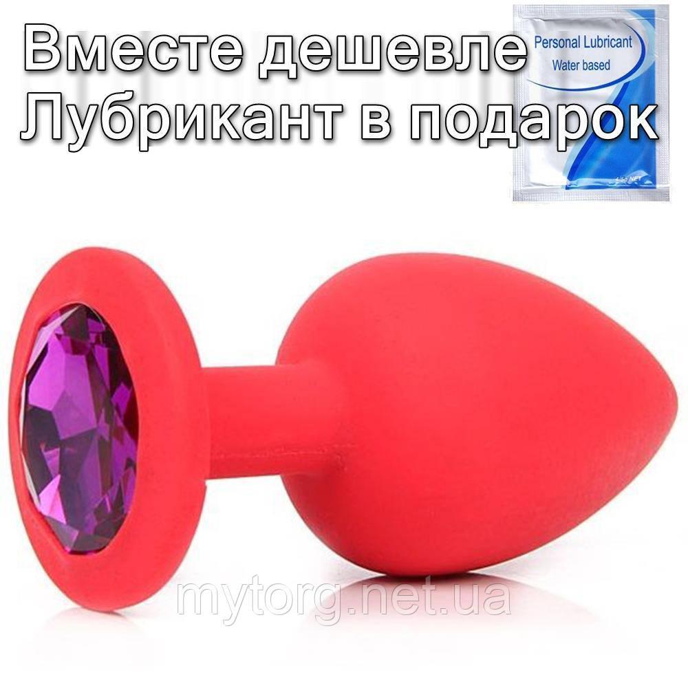 Червона силіконова анальна пробка з кристалом 3 см х 7 см Фіолетовий