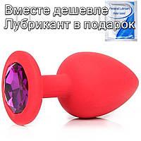 Червона силіконова анальна пробка з кристалом 3 см х 7 см Фіолетовий, фото 1