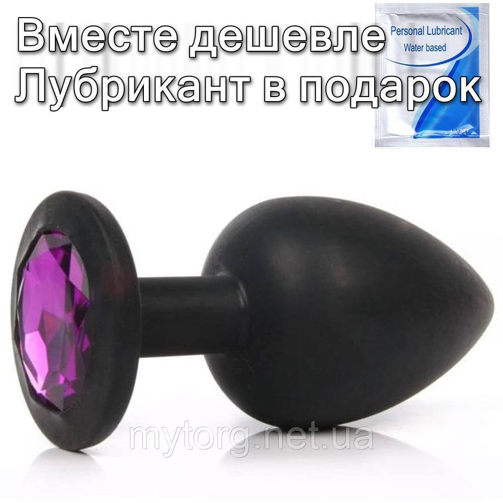 Черная силиконовая анальная  пробка с кристаллом 7 x 2.8 Фиолетовый кристалл