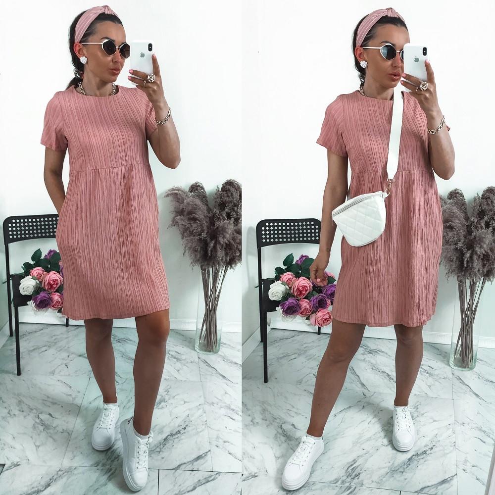 """Женское платье, жатка """"Luxury"""", р-р 42-44; 46-48; 50-52 (розовый)"""