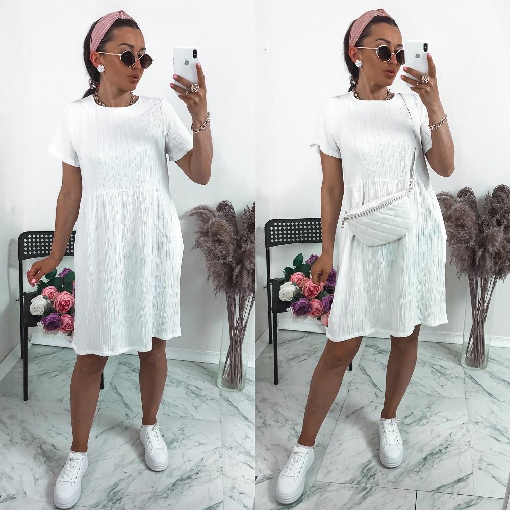 """Женское платье, жатка """"Luxury"""", р-р 42-44; 46-48; 50-52 (белый)"""