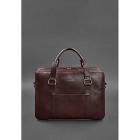 Кожаная сумка для ноутбука и документов бордовая