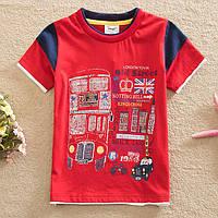"""Футболка детская """"London""""(Лондон) для мальчика/Flags/красная/ 92 см (1.5-2года) / 110 см (4-5 лет )"""