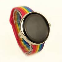 Умные Смарт Часы Supero Smart Watch Up9 С Тонометром Радужный Ремешок / Серебристый Корпус